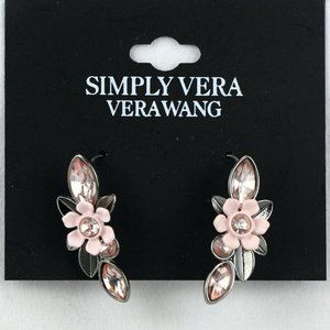 "Vera Wang Earrings Dark-tone 1.25"" Pink Flower"